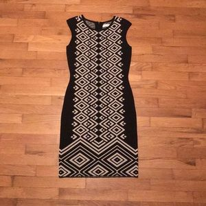 Calvin Klein S Cream Black Bodycon Dress